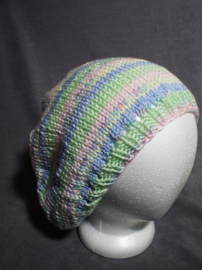 Pastel Slouch Hat: Hand Knit Slouch Hat in Light Pink Light image 0