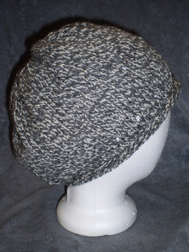 Grey Hat: Gray Flecked Roll Brim Wool Knit Slouch Hat image 0