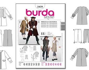 Bu... Burda Mens Sewing Pattern 2459 Pirate /& Casanova Fancy Dress Costumes