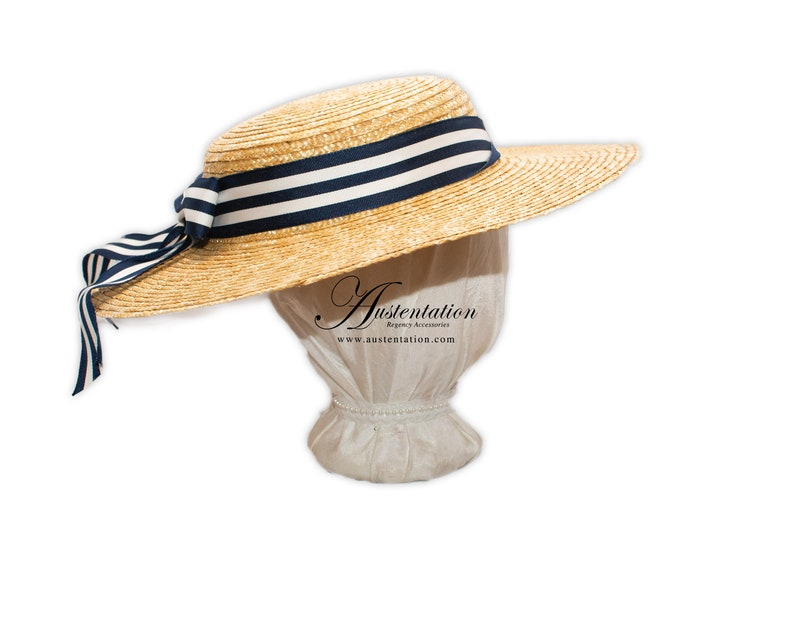 1920s Fashion & Clothing | Roaring 20s Attire Trimmed Young Womans Victorian / Edwardian Straw Skimmer Hat $50.00 AT vintagedancer.com