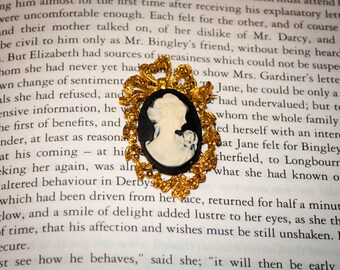 Jane Austen/ Regency Style Lady Cameo Brooch: Black and Gold Vintage Style Setting
