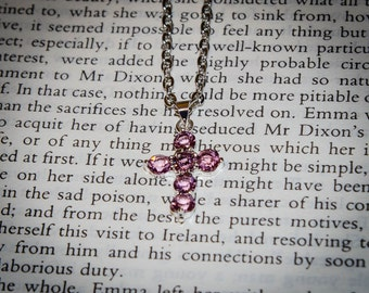 Jane Austen Regency Style Pink Crystal Cross Necklace