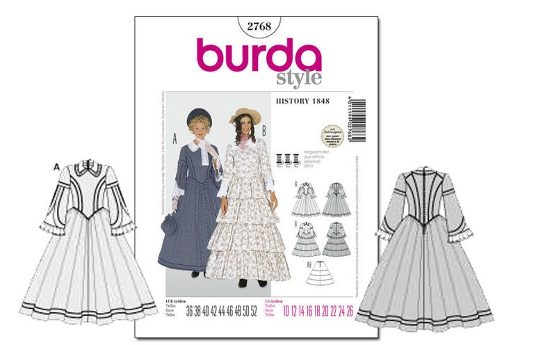 Early-Mid Victorian Pioneer 1840's 1848 Dress Petticoat Gown Pattern: Burda  2768 Size 10-26