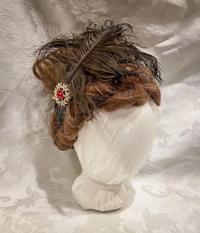 Edwardian Gloves, Handbags, Hair Combs, Wigs Regency Ball Style Headband with Jeweled Clip and Black Feathers: Black and Red $18.00 AT vintagedancer.com