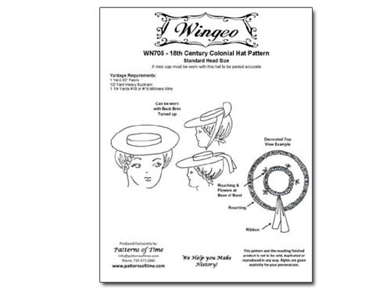 Wingeo 705 18th c. Colonial Hat Pattern  72c07038eac