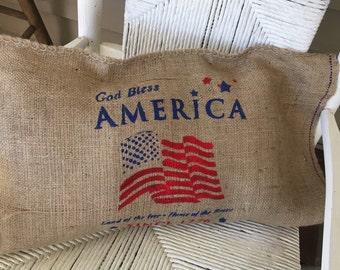 Rustic burlap sack pillow cover