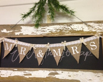 Shabby Chic Mr. & Mrs . Burlap Banner