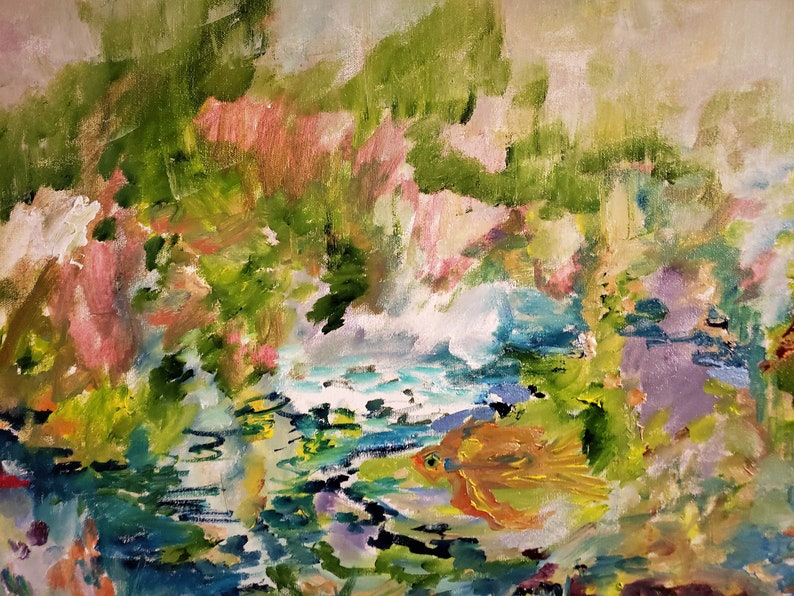 23 Kitchen Art Harmony Oil 33 Kathleen Leasure Goldfish Swimming Floating in Flowers and Leaves Life of a Goldfish