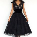 Stunning Nude Illusion 1950s Black Lace and Velvet Ruffle Tulle Cupcake Dress