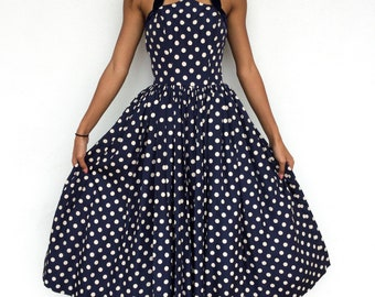 2fef6ba168 Absolutely Incredible 1950 s Neusteters Denver Designer Silk Blue and White  Polka Dot Fit and Flare Dress
