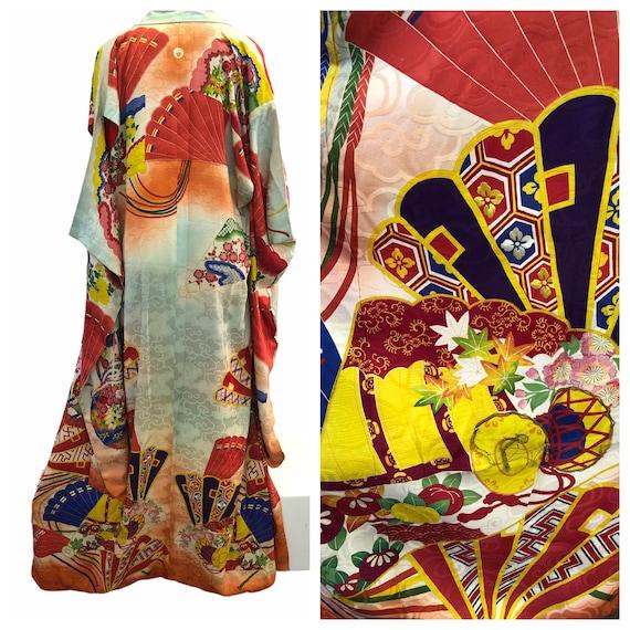 Vintage Antique Asian Colorful Multicolored Embroi