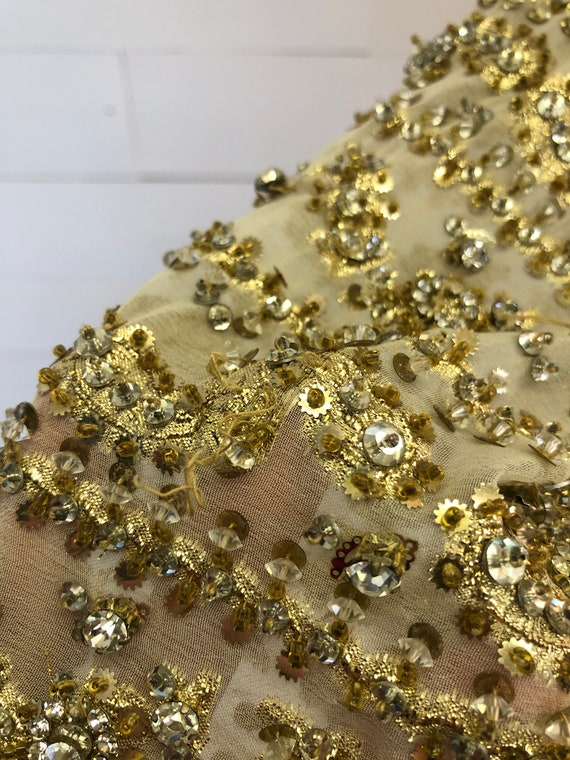 Vintage 70s Harvey Berin Beige Gold Beaded Rhines… - image 8