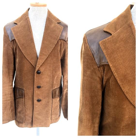 Vintage VTG 1970s 70s Brown Corduroy Leather Pione