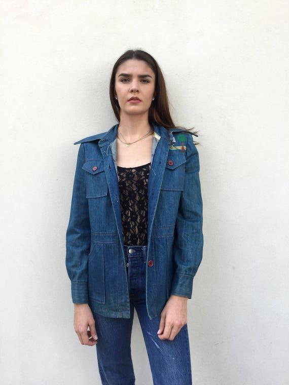 Vintage Late 60s Denim Embroidered Jacket, 1960s D