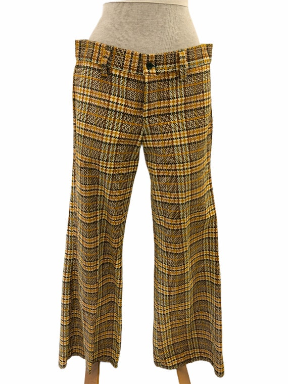 Vintage VTG 1970s 70s Yellow Plaid Pattern Flare … - image 2