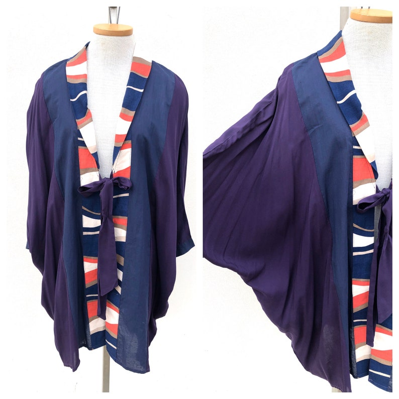 Vintage VTG 1930s 1940s 30s Navy Blue Striped Batwing Coverup Shawl