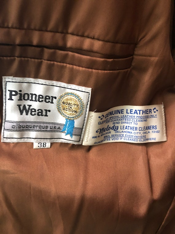 Vintage VTG 1970s 70s Brown Corduroy Leather Pion… - image 5