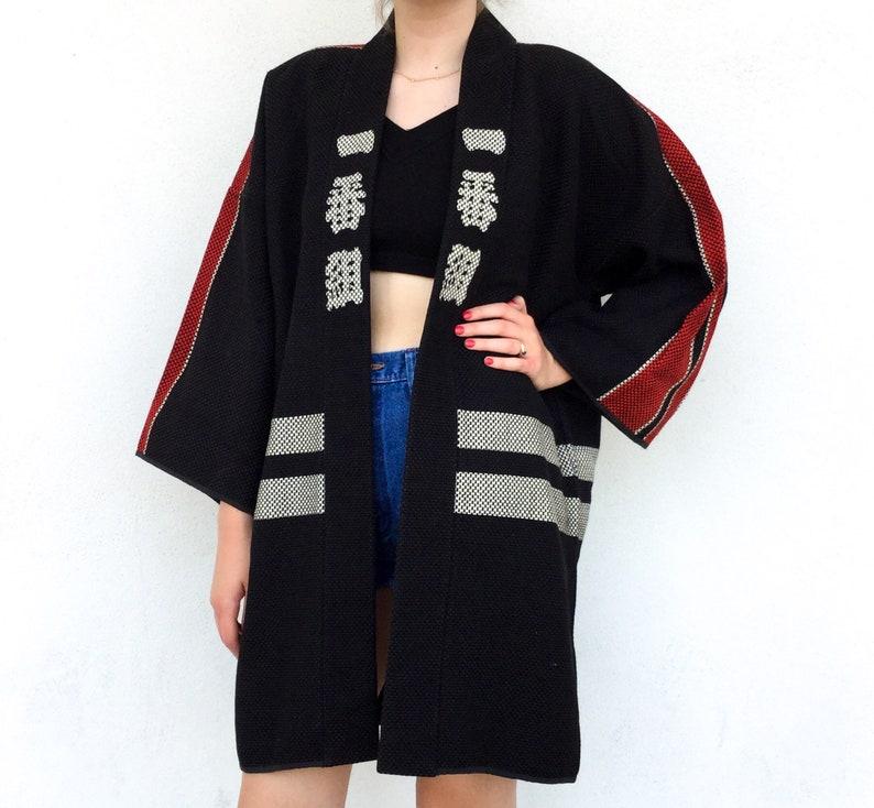 Amazing Vintage Traditional Japanese Character Stitched Fireman Hanten Kimono RobeJacket