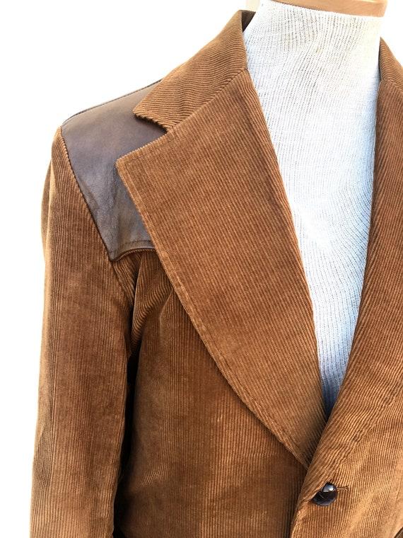 Vintage VTG 1970s 70s Brown Corduroy Leather Pion… - image 7