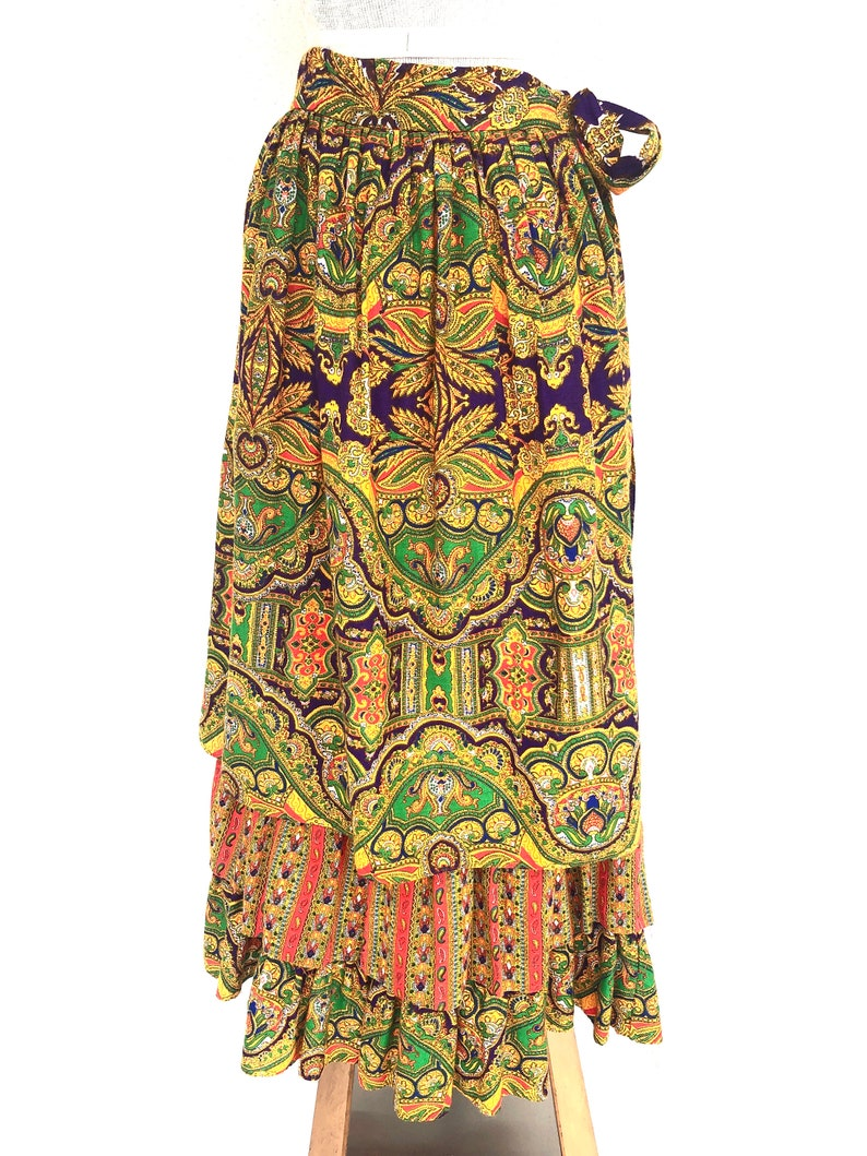 Vintage VTG 1970s 70s Multicolored Paisley Tiered Ruffle Maxi Skirt