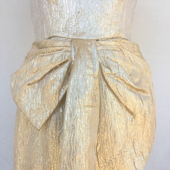 1980s Victor Costa Gold metallic Gown - image 5