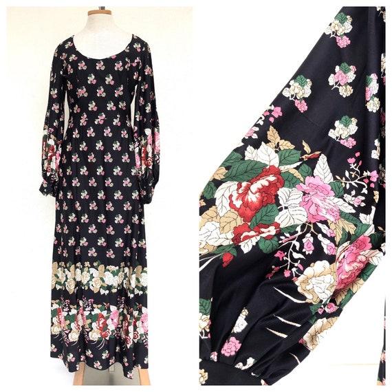 70s Estevez black floral designer maxi dress