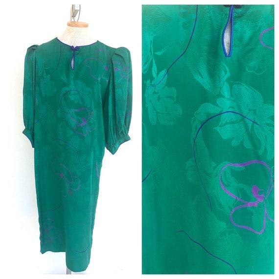Vintage VTG 1980s 80s Flora Kung Green Silk Floral