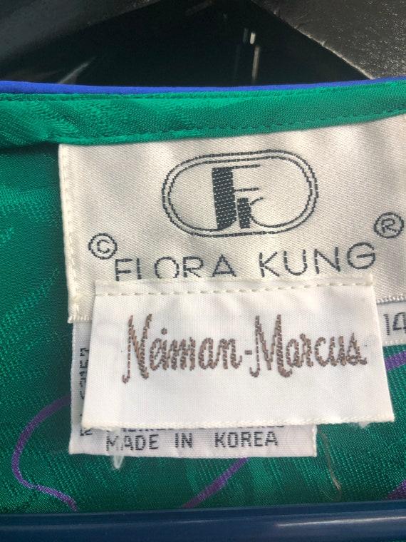 Vintage VTG 1980s 80s Flora Kung Green Silk Flora… - image 7