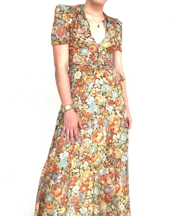 Vintage 70s floral two piece top and skirt set