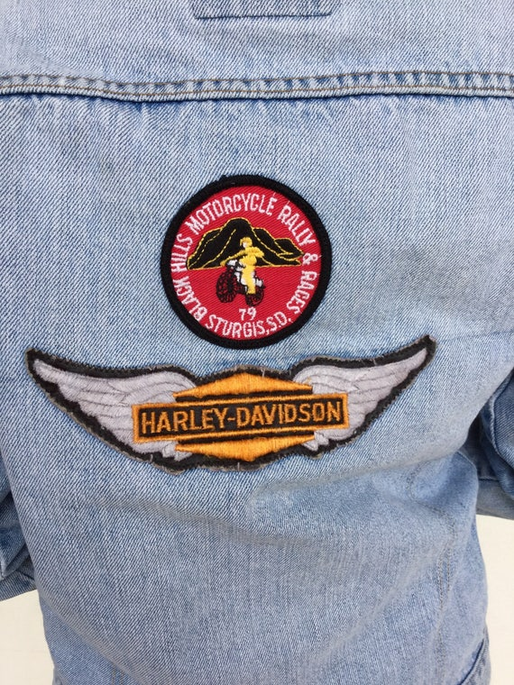 70s orange tab Levi's Harley patched denim jacket