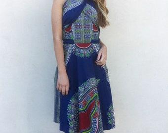Amazing 1950's blue strapless versatile dashiki sundress
