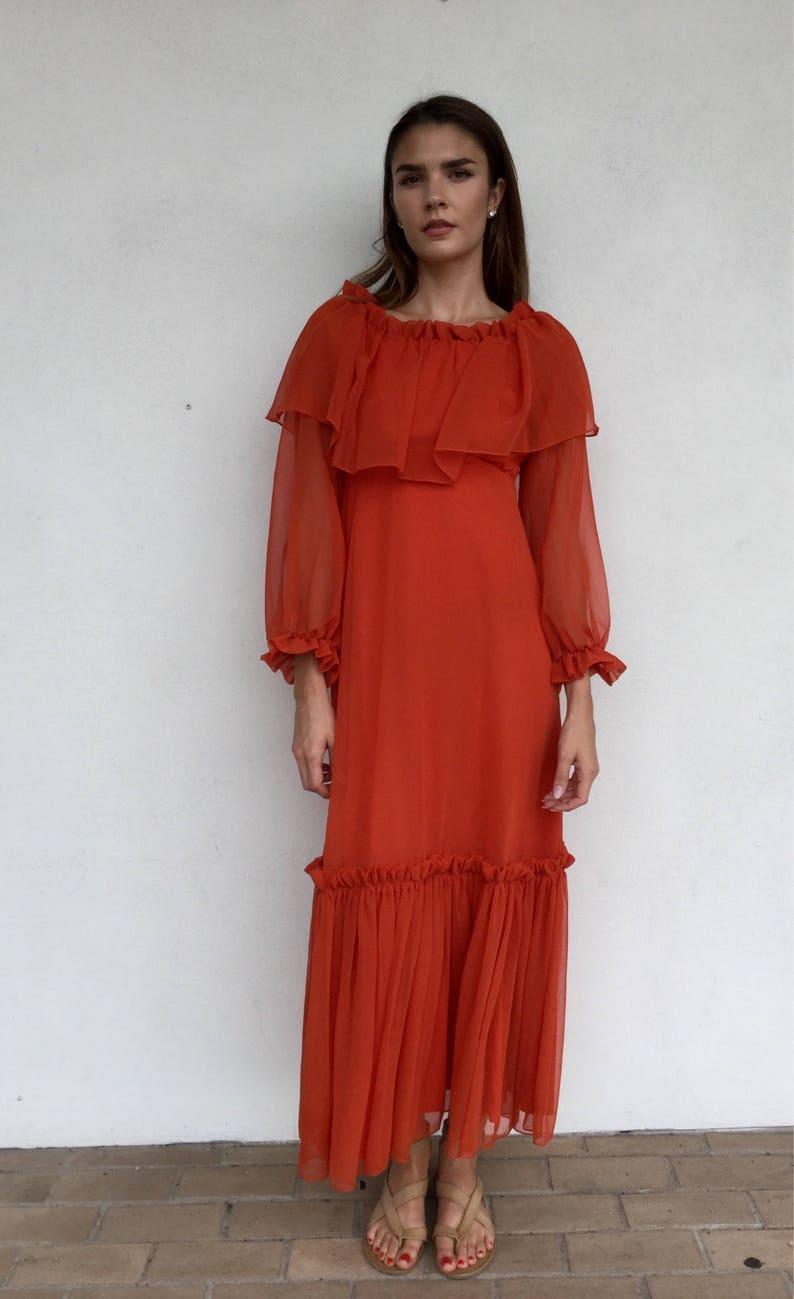 5d50f3f0ed Beautiful 70s flowy orange sheer long sleeve maxi dress