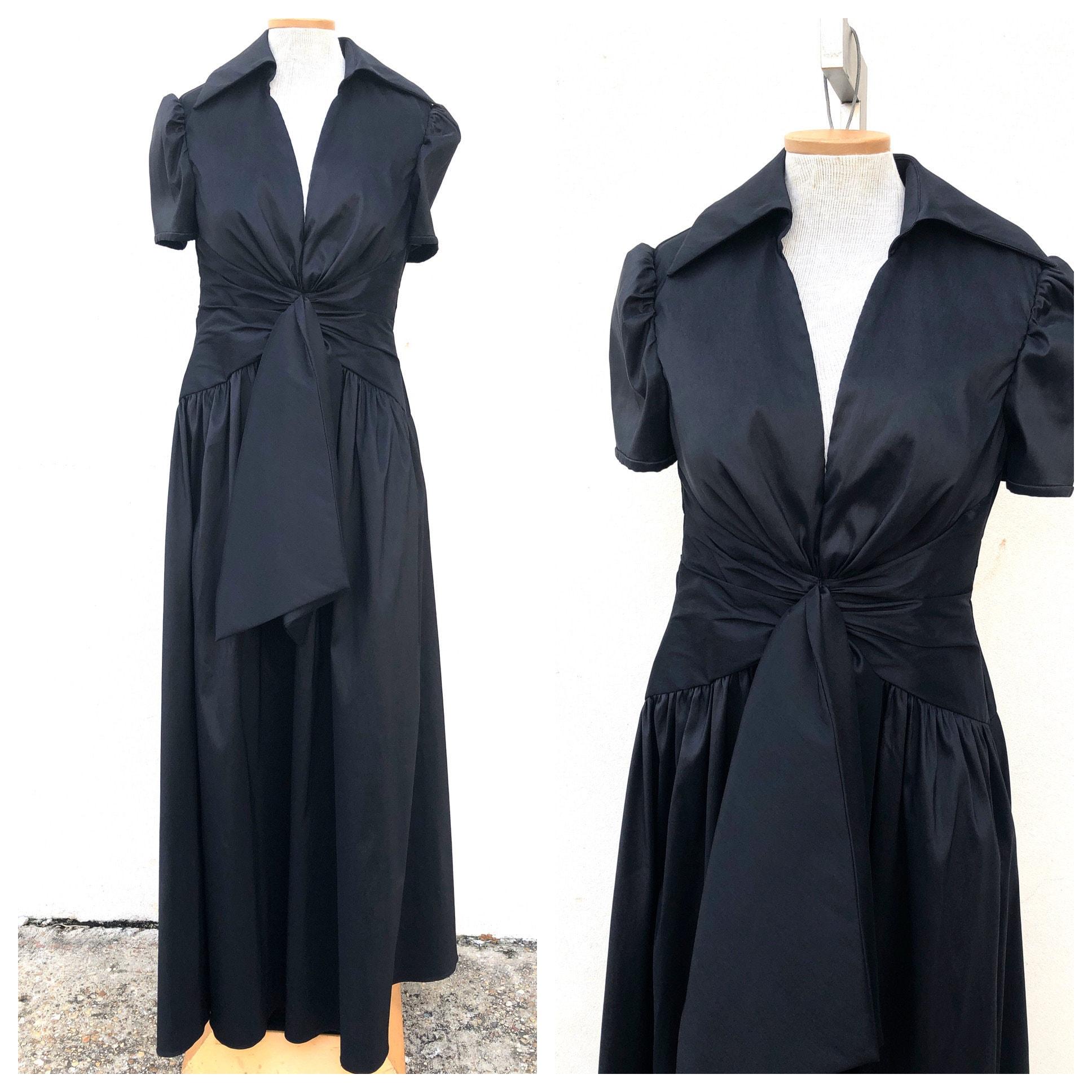 80s Dresses   Casual to Party Dresses Vintage Vtg 1980S 1990S Tony Bowls Black Ruched Evening Gown Dress $0.00 AT vintagedancer.com