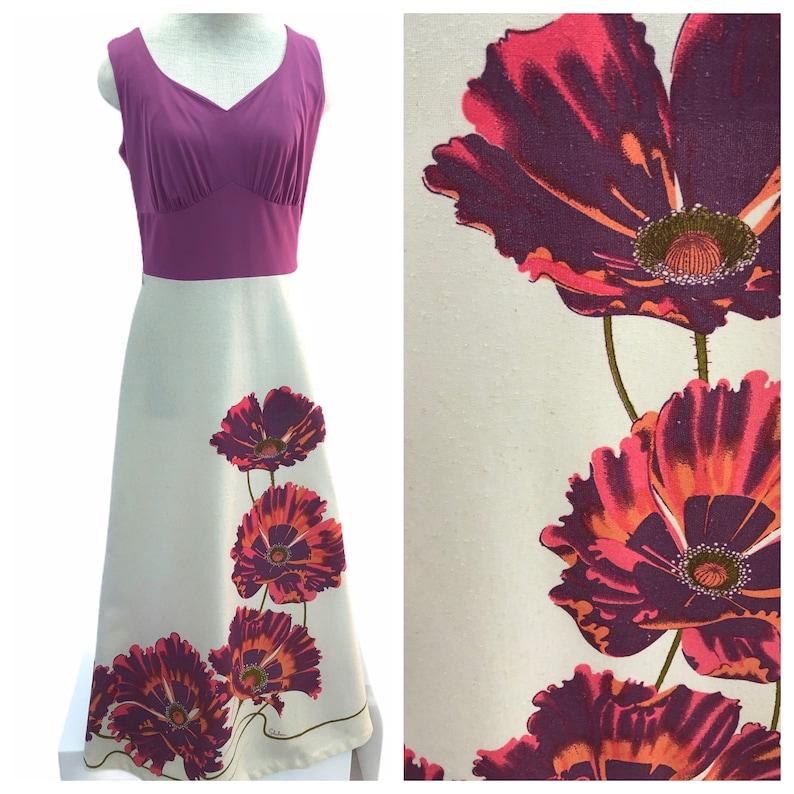 Vintage VTG 1970s 70s Alfred Shaheen Purple Poppy Maxi Dress