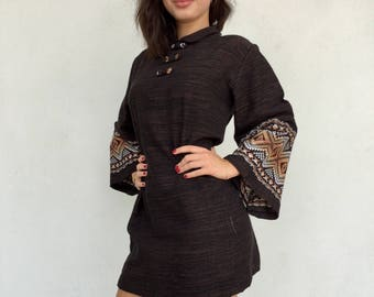 Brown 70s embroidered mini dress