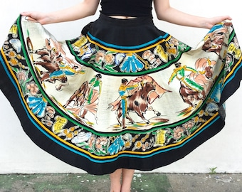 Gorgeous 1950s Hand Painted Mexican Full Circle Skirt with Sequin Detail