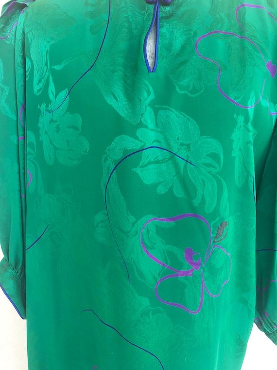 Vintage VTG 1980s 80s Flora Kung Green Silk Flora… - image 5