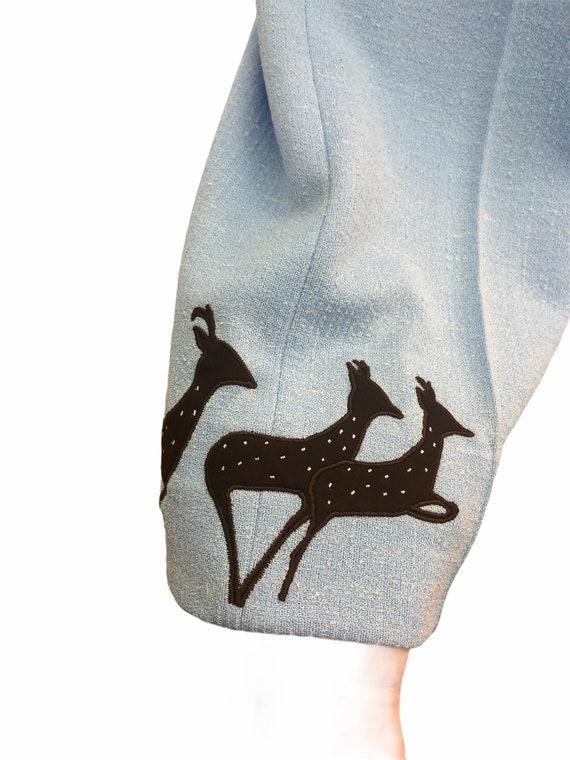 Vintage VTG 1970s 70s Blue Knit Trousers Pants wi… - image 4