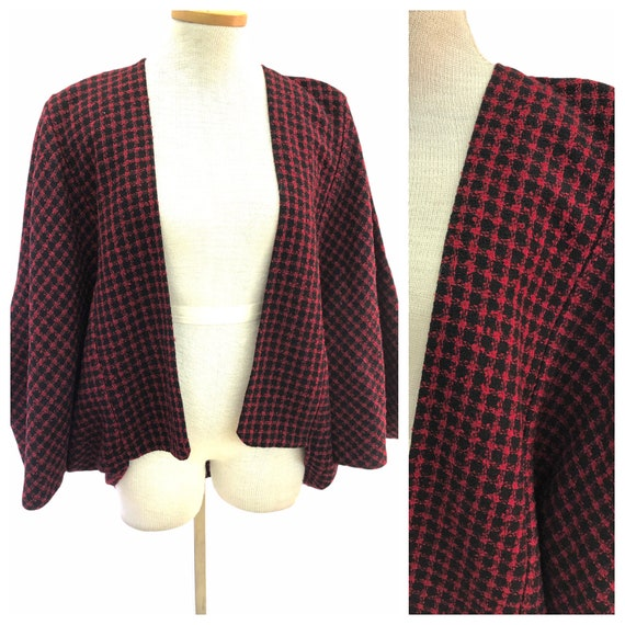 Vintage VTG 1950s 50s Red Black Houndstooth Cape B