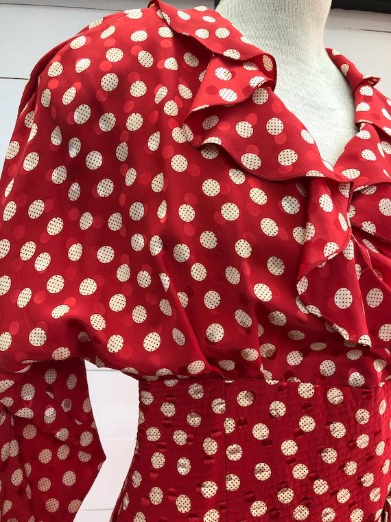 Vintage VTG 1980s 80s Red Silk Polka Dot Long Sleeve Cinched Party Dress