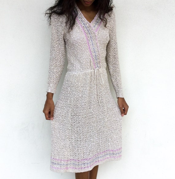 Lovely 1980's does 1930's Loose Knit Sweater Dress