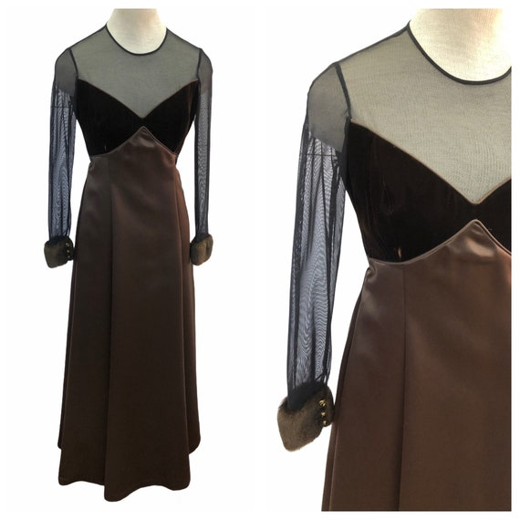 Vintage VTG 1990s 90s Brown Velvet Dress Gown with