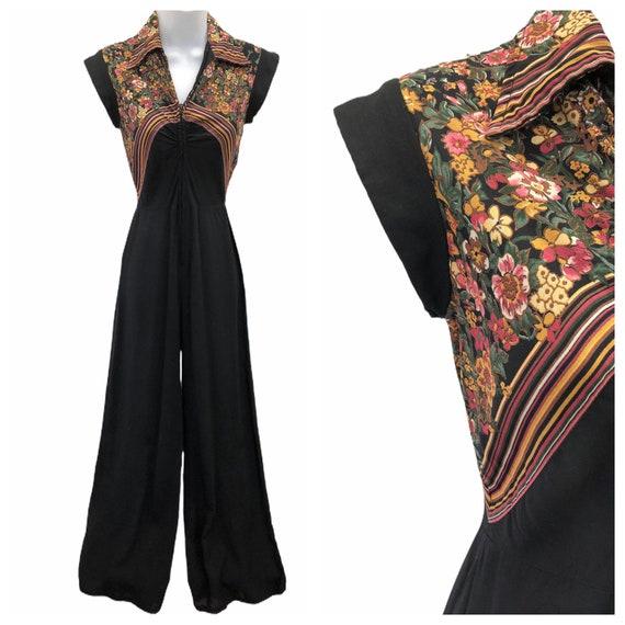 Vintage VTG 1970s 70s Black Floral Disco Jumpsuit