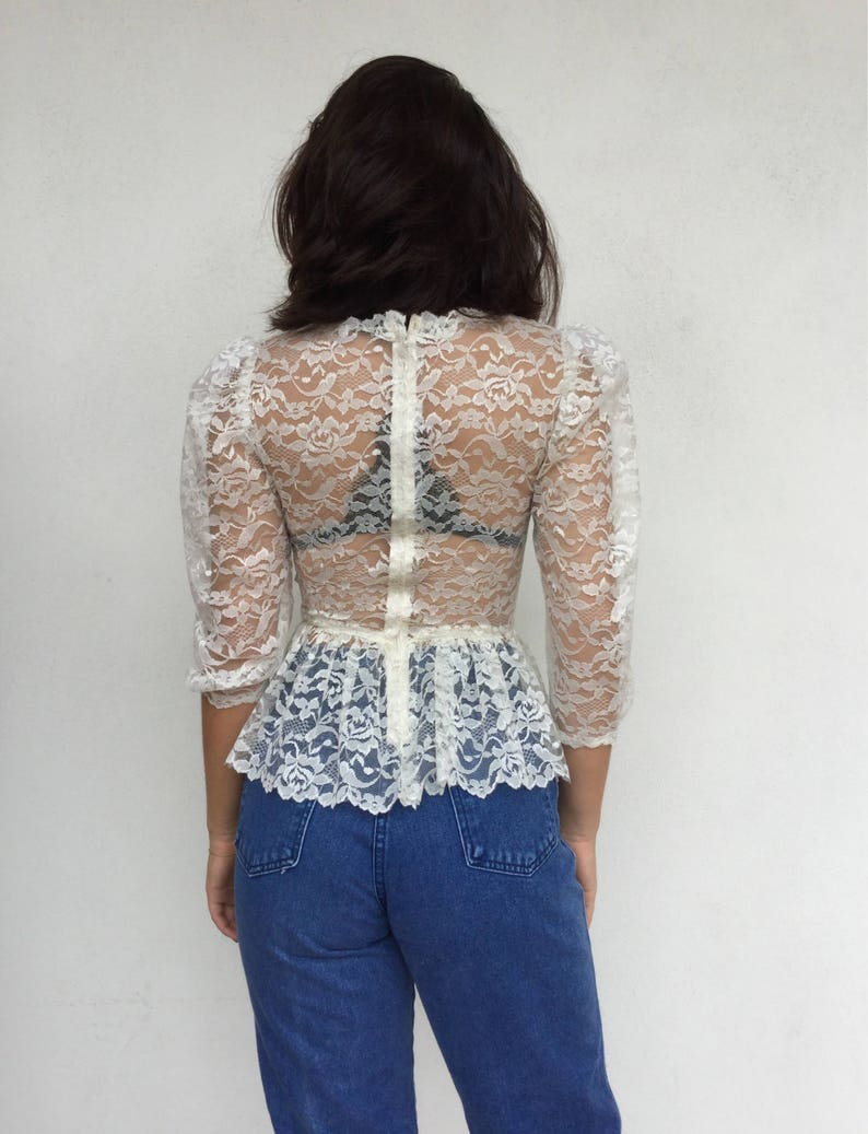 Sheer 70s victorian revival cream lace peplum blouse