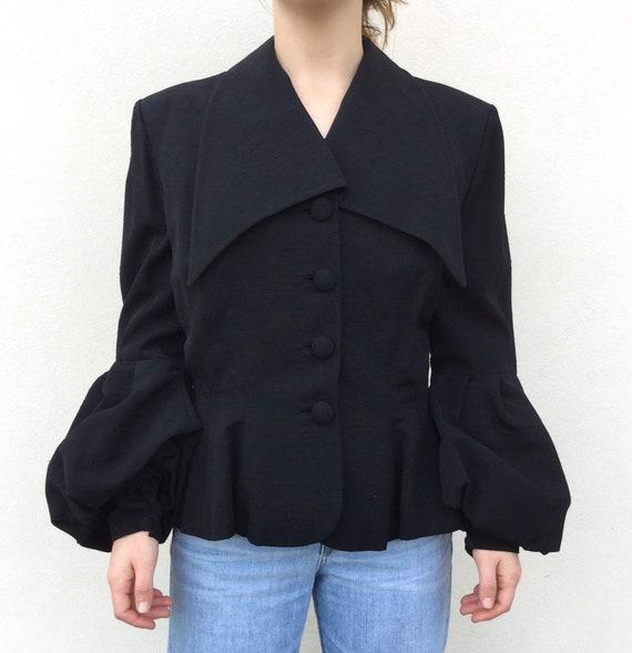 Designer Lilli Ann 1950s black puff sleeve blouse
