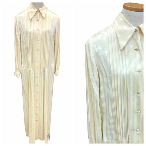 Vintage 1970s Nat Kaplan Couture Cream Striped Ple