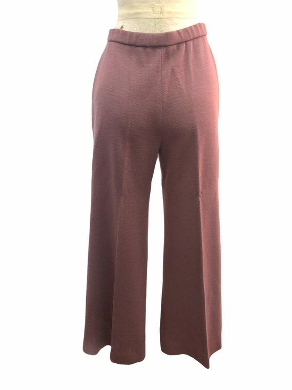 Vintage VTG 1970s 70s Mauve Purple Knit Trousers … - image 3