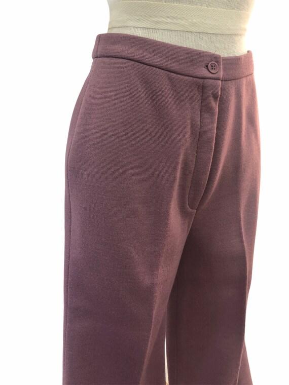 Vintage VTG 1970s 70s Mauve Purple Knit Trousers … - image 4