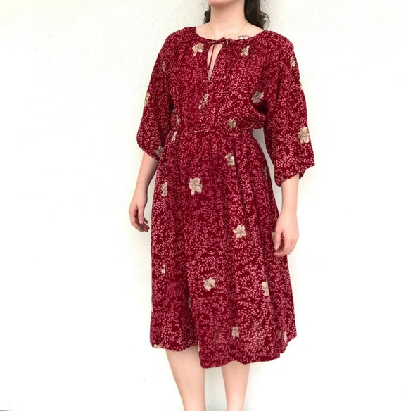 Vintage 80s Maroon Hanae Mori Loose Dress, VTG 198