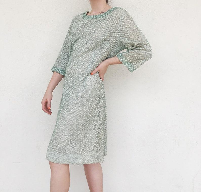 60s pale green beaded shift dress